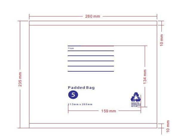 215mm x 280mm Bubble Padded Bag Mailer