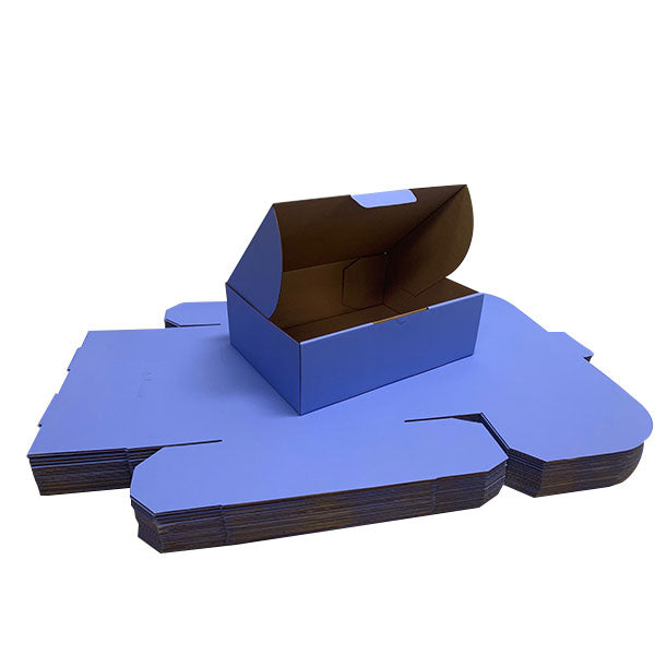 Blue Mailing Boxes 310 x 230 x 105mm Die Cut Shipping Packing Cardboard Boxes