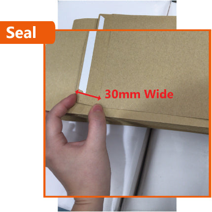 500x Card Mailer 260 x 360mm + 30mm Wide Adhesive Seal 120gsm Brown Envelope