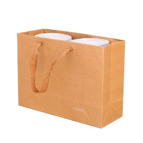 50x BROWN CRAFT PAPER GIFT 320 x 280x 115 mm CARRY BAGS WITH HANDLES