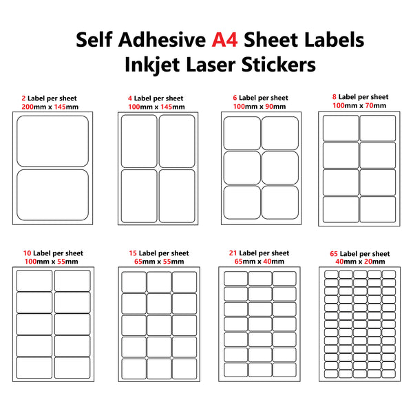 A4 Self adhesive Pre-cut 2/4/6/8/10/15/21/65 Labels per sheet