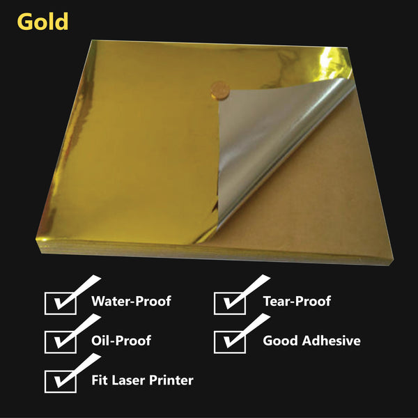 A4 Glossy Gold/Silver PET Self Adhesive Vinyl Sticker Paper Sheet Label Laser Print