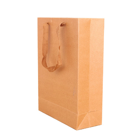 50x BROWN CRAFT PAPER GIFT 150x 200x 60 mm CARRY BAGS WITH HANDLES