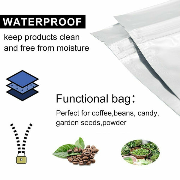 120 mm x 200 mm + 40 mm Clear Aluminum Foil Mylar Stand Up Retail Bags Zip Lock Pouches Pouch Packaging