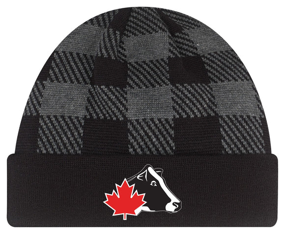 Grey Plaid Winter Toque