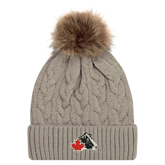 Cuff Toque with Faux Fur Pom Pom