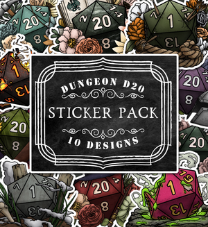 Dungeon Adventure D20s Die-Cut Sticker Pack