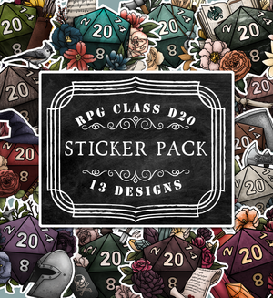 RPG Classes D20s Die-Cut Sticker Pack