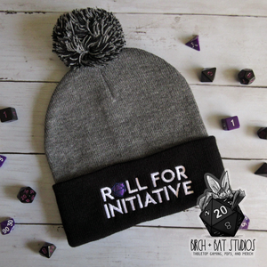 Roll for Initiative Pom-Pom Beanie