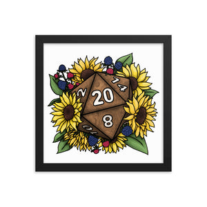 Sunflower D20 Framed Poster