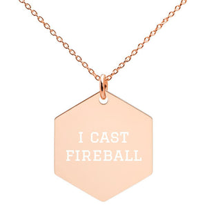 I Cast Fireball Engraved Necklace