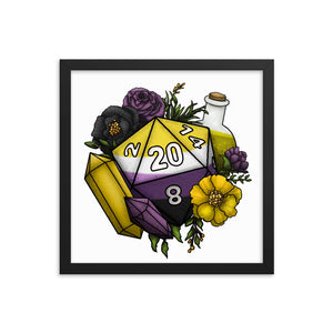Nonbinary Pride D20 Framed Poster