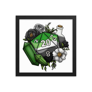 Aromantic Pride D20 Framed Poster