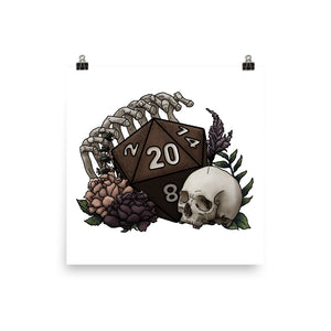 Skeleton D20 Semi-Gloss Poster