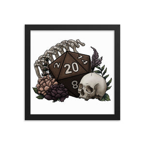 Skeleton D20 Framed Poster