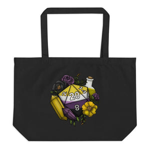 Nonbinary Pride D20 Oversized Tote Bag