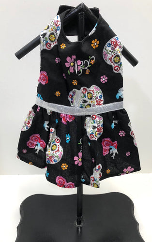 Sugar Skull Dog Dress, black glitter, dia de los muertos, silver glitter