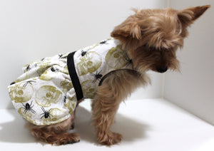 Dog Dress, Black Spiders, Gold Skulls, dresses for dogs, fashion dog