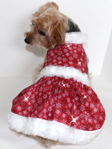 Christmas Dog Dress, Red White Mrs Santa Claus Holiday fashion dogs dresses