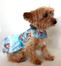 Load image into Gallery viewer, Christmas Dog Dress, Snowman Holiday, pretty blue fashion dogs dresses