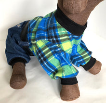 Load image into Gallery viewer, Dog Pajama Onesie, Plaid Denim Onesies for Dogs