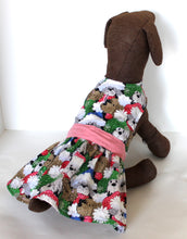 Load image into Gallery viewer, Christmas Dog Dress, Fluffy Puppies Winter Fun, holiday fashion dogs dresses
