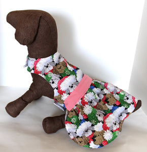 Christmas Dog Dress, Fluffy Puppies Winter Fun, holiday fashion dogs dresses