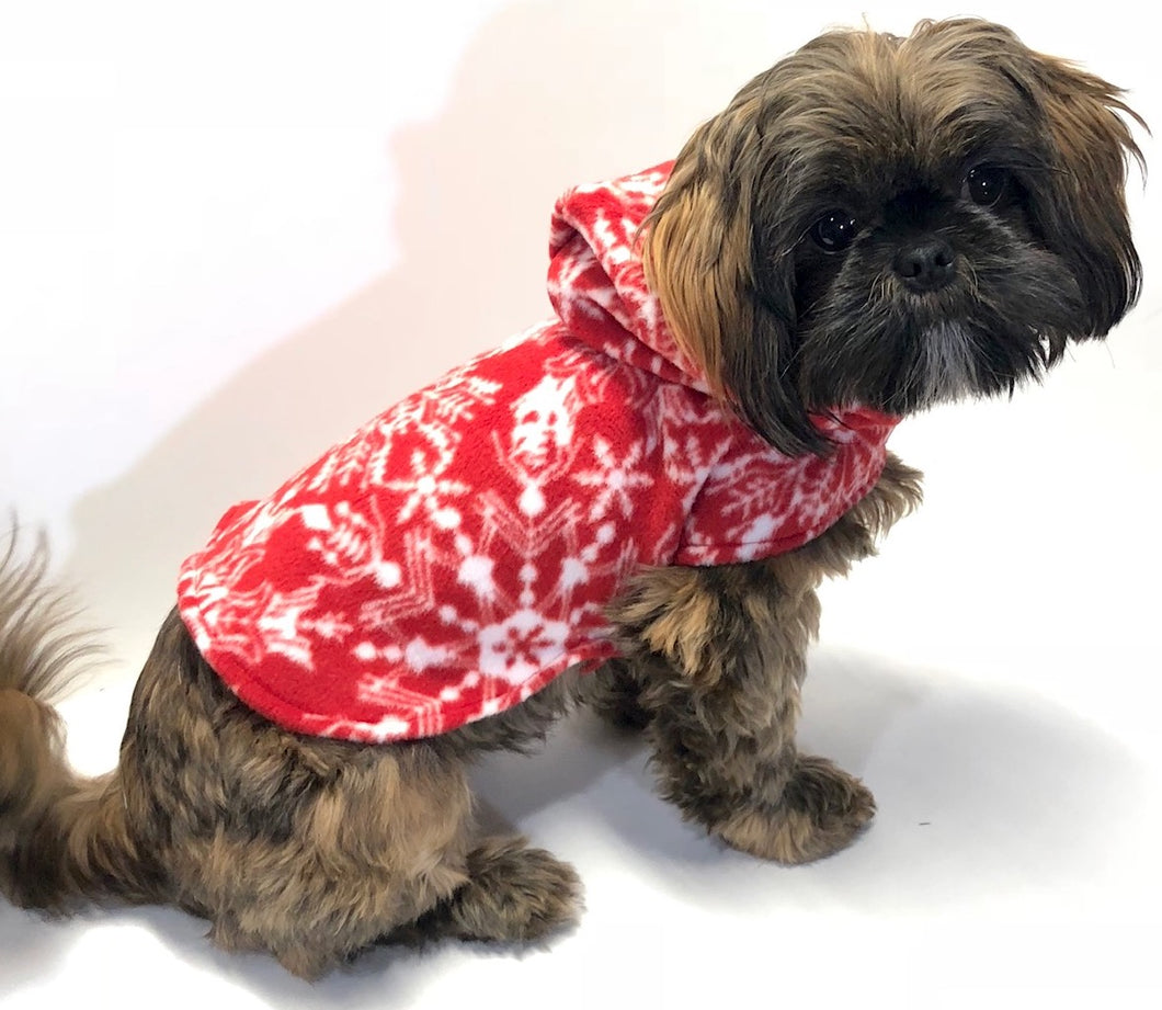 Snowflake Christmas Dog Hoodies, Red White Holiday Fleece Dogs Jacket