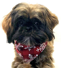 Load image into Gallery viewer, Christmas Dog Bandana, Pretty Red with White Snowflakes Holiday Bandanas Dogs