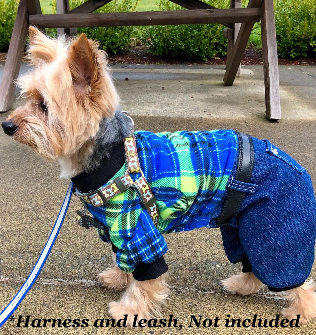 Dog Pajama Onesie, Plaid Denim Onesies for Dogs