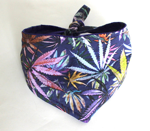 Dog Bandana, Purple Multi Color Purple Cannabis Leaf Dogs Bandanas