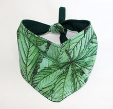 Load image into Gallery viewer, Dog Bandana, Green Cannabis Leaf Dogs Bandanas