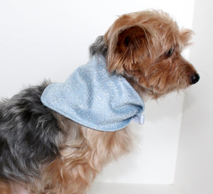 Fashion Dog Bandana, Silver Lace over Light Blue Casa Silk