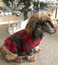Load image into Gallery viewer, Christmas Dog Coat, Red Green Plaid Fleece, Warm Winter Dogs Jacket