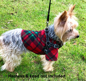 Christmas Dog Coat, Red Green Plaid Fleece, Warm Winter Dogs Jacket