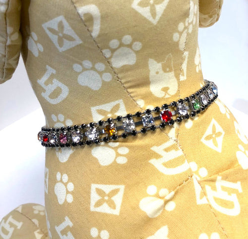 Small Dog Collar, Dazzle Charms Multi Color Bling, small breed dogs