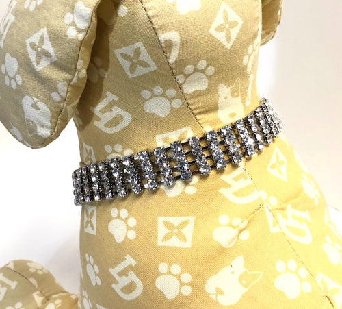 Small Dog Collar, Clear Dazzle Charms Bling, small breed dogs