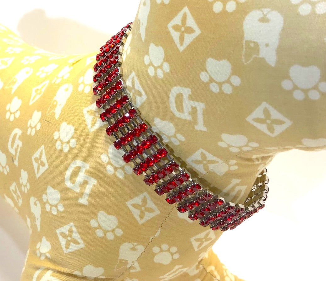 Small Dog Collar, Red Dazzle Charms Color Bling, small breed dogs
