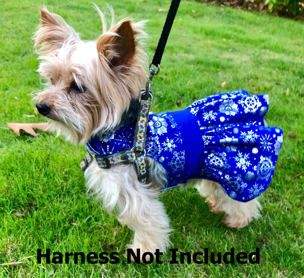 Winter Holiday Dog Dress, Blue with Silver Snowflakes, Christmas Dogs Dresses