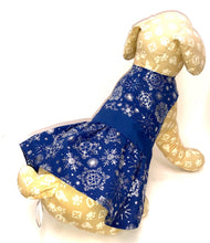 Load image into Gallery viewer, Winter Holiday Dog Dress, Blue with Silver Snowflakes, Christmas Dogs Dresses
