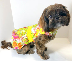 Groovy Dog Dress, XS S M, Yellow Floral Print fashion dogs dresses