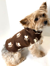 Load image into Gallery viewer, Dog Hoodie, Brown Fleece dogs jacket coat, cute paw print
