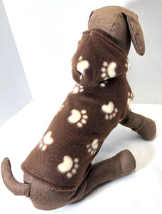 Dog Hoodie, Brown Fleece dogs jacket coat, cute paw print