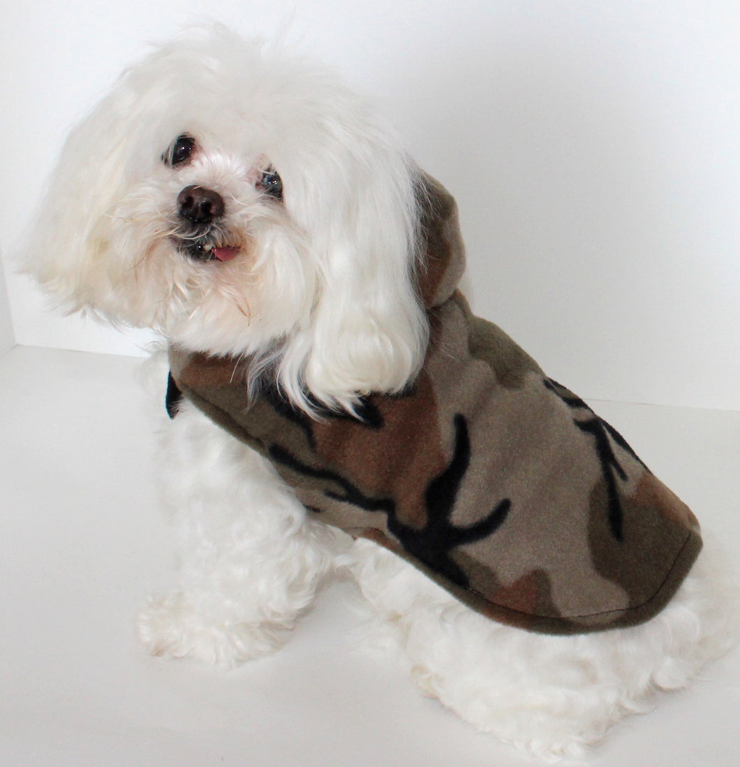 Camouflage Dog Hoodie, Camo Fleece dogs jacket coat