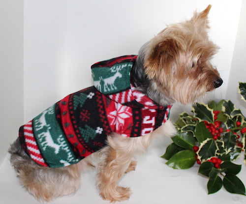 Country Christmas Dog Hoodie, Holiday Fleece Themed Hoodie