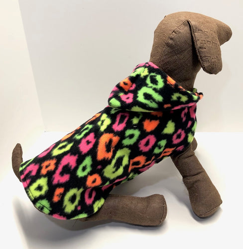 Day Glow Dog Coat Animal Print Fleece Hoodie, Black Fleece