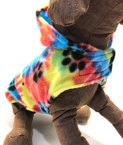Fun Fleece Dog Hoodie, paw print rainbow tie dye dogs jacket
