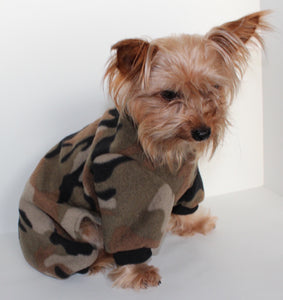 Camouflage Dog Pajama Onesie, Green Camo Fleece Onesies Pajamas for Dogs