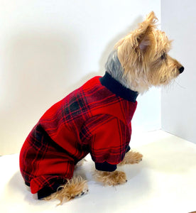 Dog Pajama Onesie, Red Black Plaid Flannel Onesies for Dogs