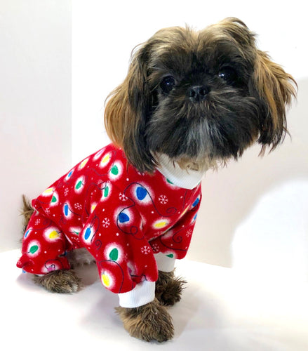 Christmas Dog Pajama Onesie, Red Flannel with Strings of Lights, Onesies for Dogs